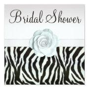 Zebra Stripes & Printed White Roses Bridal Shower Personalized Invitation